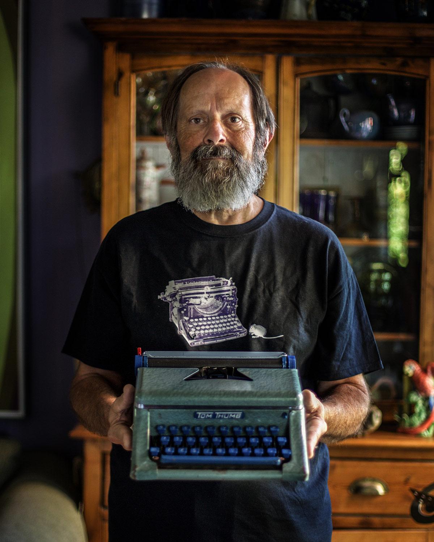 man and his typerwriter.